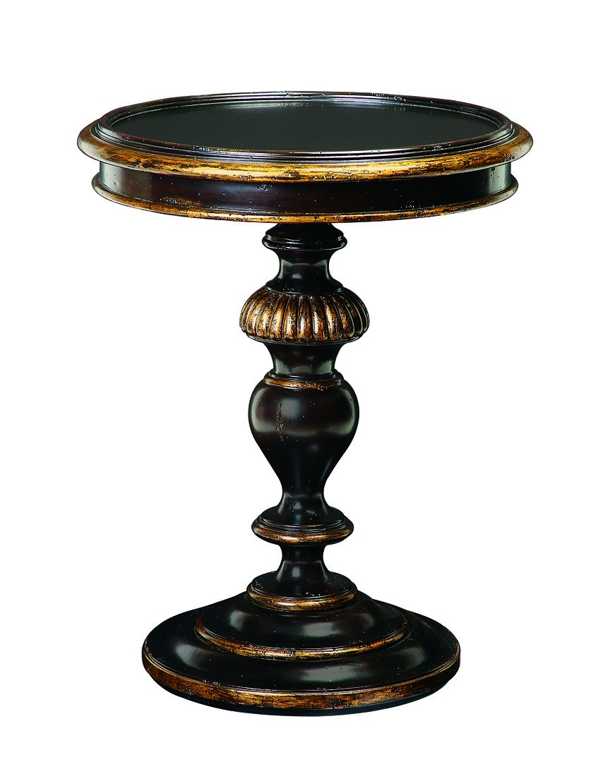 Seville Chairside Table shown with:Old World Noche finishAged Gold Leaf finish trim