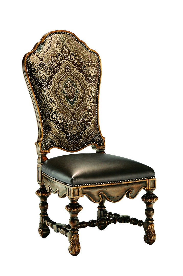 Seville Side Chair shown with:Tight seat and backHeirloom Brentwood finish withAged Gold Leaf finish trimAntique Brass nailhead frame trim