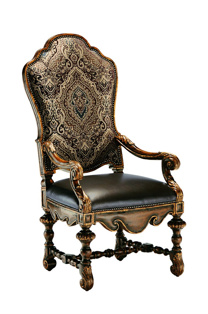 Seville Arm Chair shown with:Tight seat and backHeirloom Brentwood finish withAged Gold Leaf finish trimAntique Brass nailhead frame trim