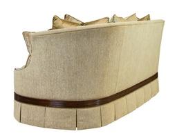 Serafina Sofa shown with:Boxed bench seatBox pleated deep skirtReeded base in Havana finishSilvernailhead frame trim