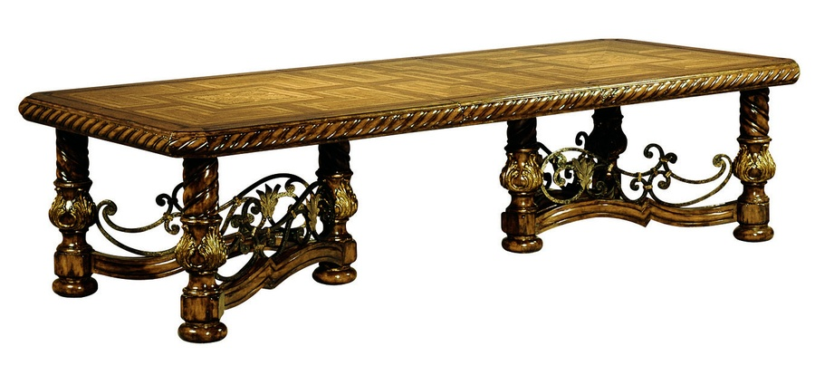 Segovia Dining Table Shown With:Old World Briar FinishAged Gold Leaf Finish  TrimDecorative Metalwork In Part 79