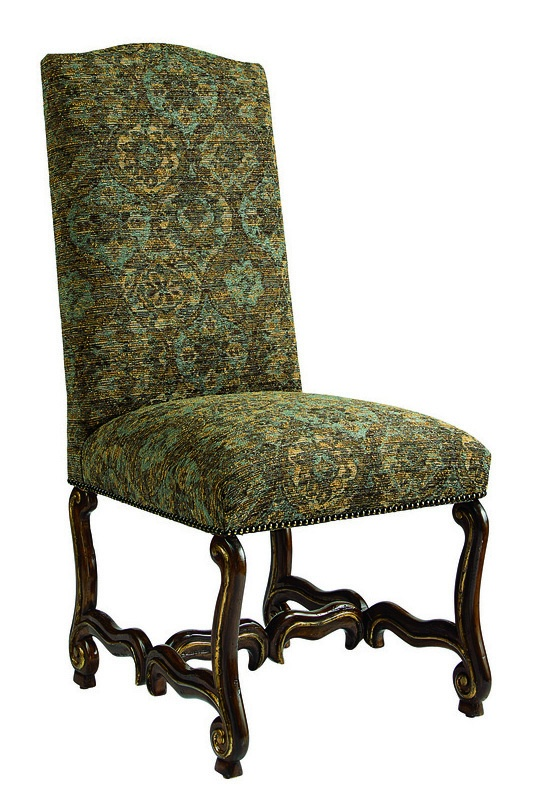 San Marino Side Chair shown with:Tight seat and backOld World Oxford finishAged Gold Leaf finish trimAntique Brass nailhead frame trim