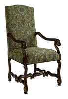 San Marino Arm Chair shown with:Tight seat and backOld World Oxford finishAged Gold Leaf finish trimAntique Brass nailhead frame trim