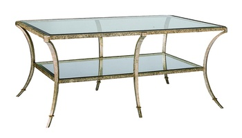 Sonoma Cocktail Table shown with:Burnished Silver finish withSpecialty Leaf tirmInset clear glass top with beveled edge