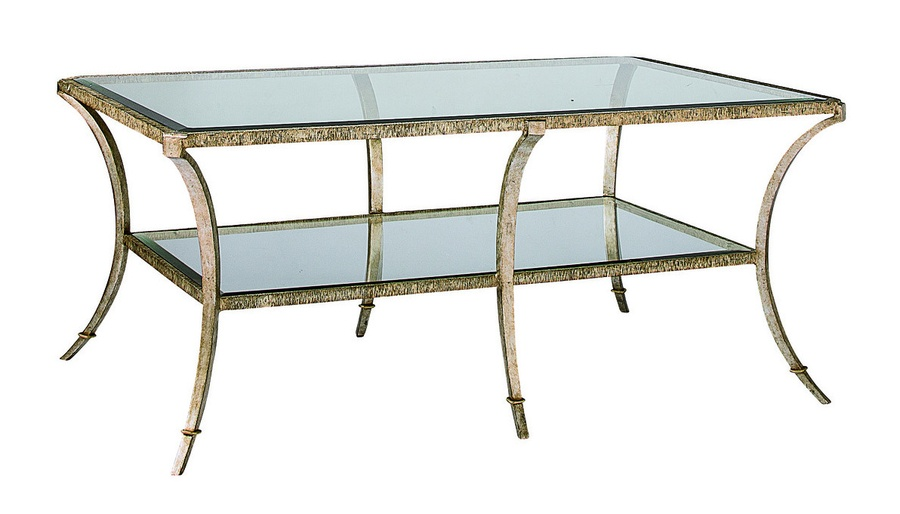 Sonoma Cocktail Table shown with:Burnished Silver finish on baseBronze finish on legs withBurnished Silver Leaf finish trimInset clear glass top with beveled edge