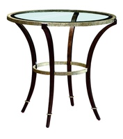 Sonoma End Table shown with:Burnished Silver finish on baseBronze finish on legs withBurnished Silver Leaf finish trimInset clear glass top with beveled edge