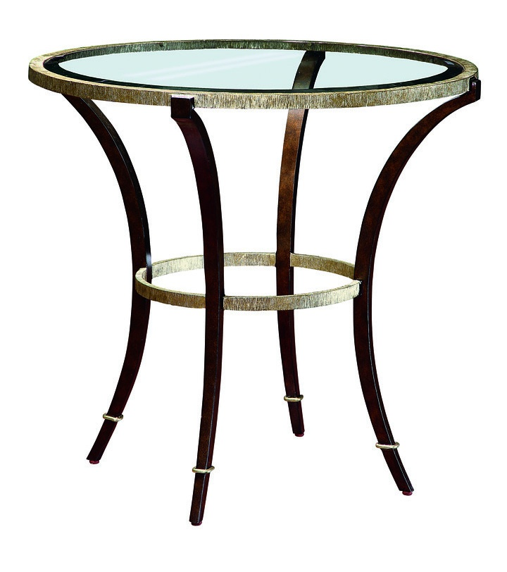 Sonoma End Table shown with:Burnished Silver finish on baseBronze finish on legs withBurnished Silver Leaf finish trimInlayed Polished Pewter shell top