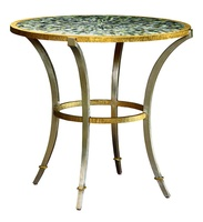 Sonoma EndTable shown with:Inlayed Polished Pewter shell top Metal base and legs available in a variety offinishes and optional finish trims