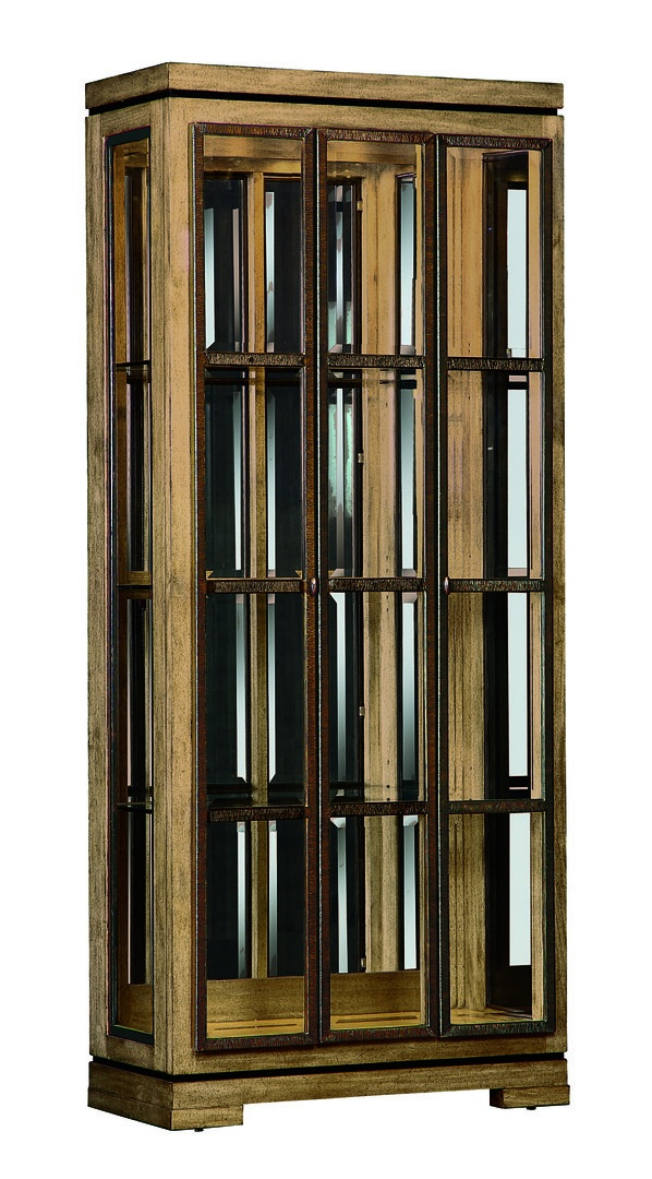 Sonoma Display Cabinet shown with:Havana finish with Ebony Paint finish trimMetal doors in Burnished Silver finishClear mirror backMedici Nickel hardware