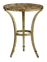 Sonoma Chairside Table shown with:Burnished Silver Finish on base and legsInlayed Textured Honey shell top