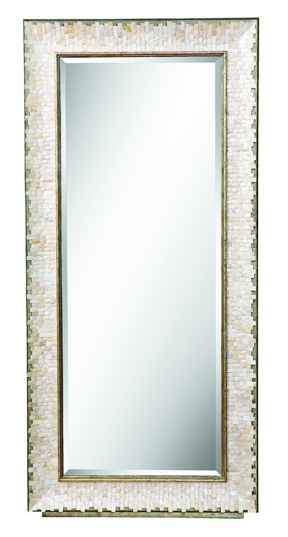Sonoma Mirror shown with:Burnished Silver finishTextured Pearl shell faceClear mirror with beveled edge