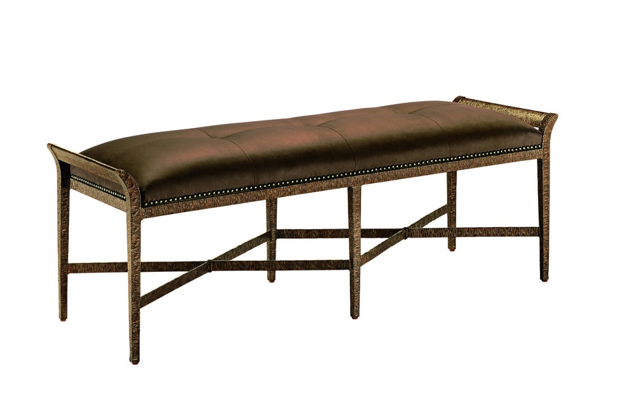 Sonoma Bench shown with:Button quilted seatBronze finishBronze Star nailhead frame trim