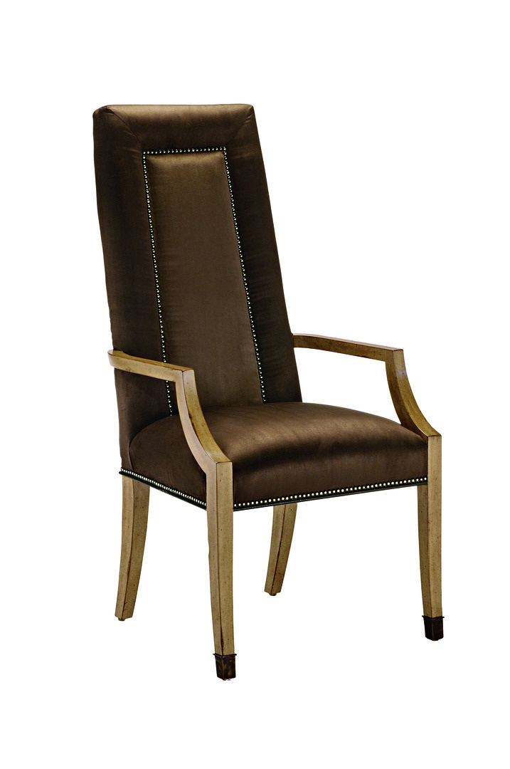 Sonoma Arm Chair shown with:Tight seat and backAntique Brass nailhead frame trimAntique Bronze ferrules at feet