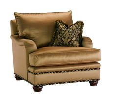Santa Barbara Chair shown with:Knife Edge Back PillowBoxed T-Seat CushionEnglish ArmTraditional legs in Old World Briar finish withAged Gold Leaf finish trimBronze Star nailhead frame trim