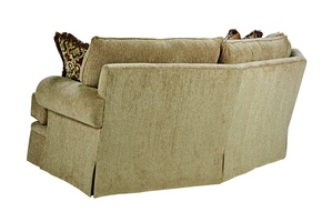 Santa Barbara Wedge Sofa (Fitted Back) shown with:Boxed T-cushion bench seatFan Pleated ArmDeep skirt with built-in sides and back(2) Optional additional pillows