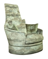 SultanChair and A Half shown with:Boxed seat cushionBuilt-to-the-floor with front bandSilver Nilenailhead frame trim