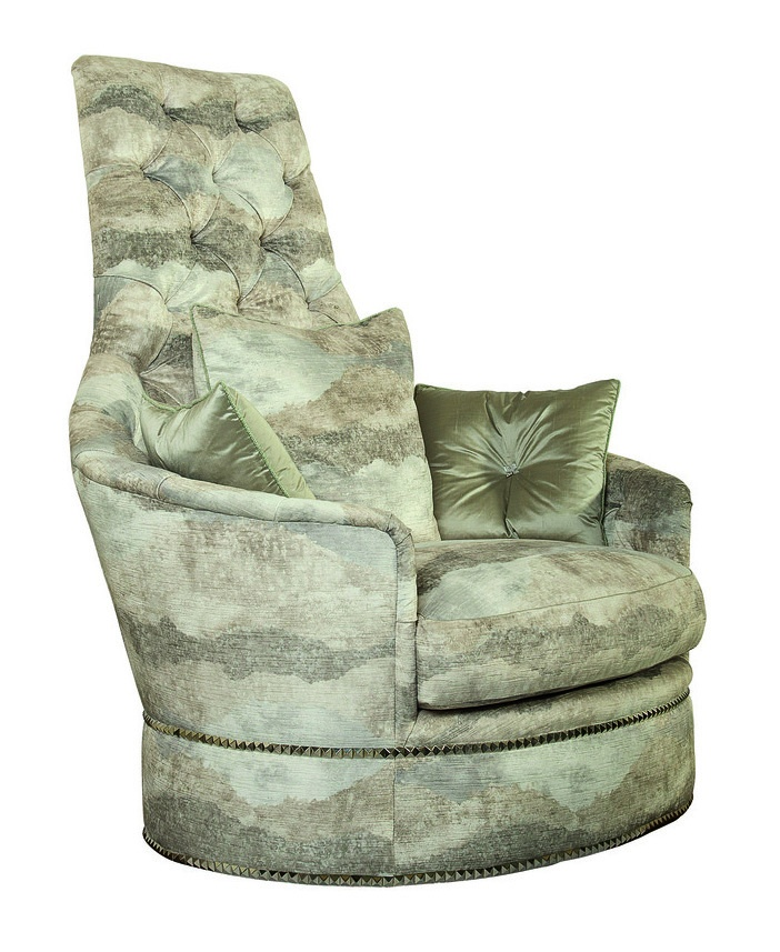 SultanChair and A Half shown with:Boxed seat cushionDeep skirt with dressmaker back and button detailSilver Starnailhead frame trim