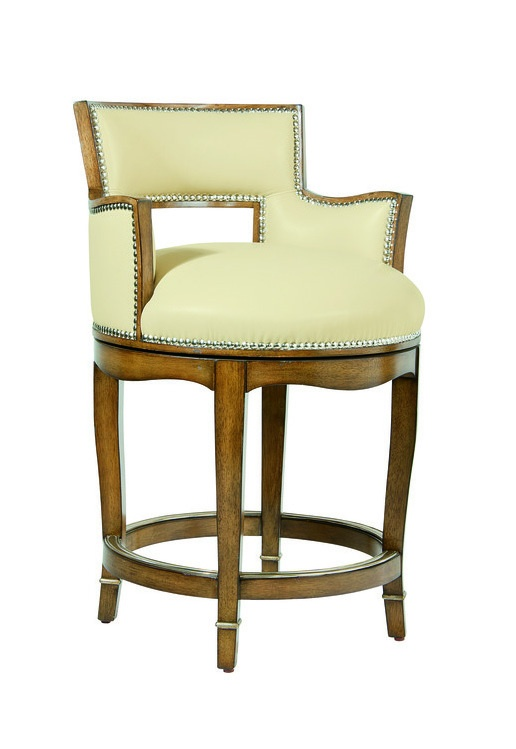 Tango Counter Stool shown with:Tight seat and backSignature finish with Medici Leaf finish trimGlitterati nailhead frame trimMedici Nickel footrest