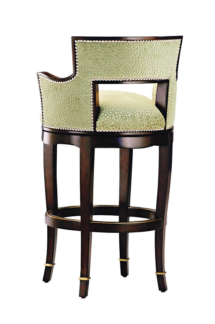 Tango Counter Stool shown with:Tight seat and backKona finish with Medici Leaf finish trimMerengue nailhead frame trimMedici Nickel footrest