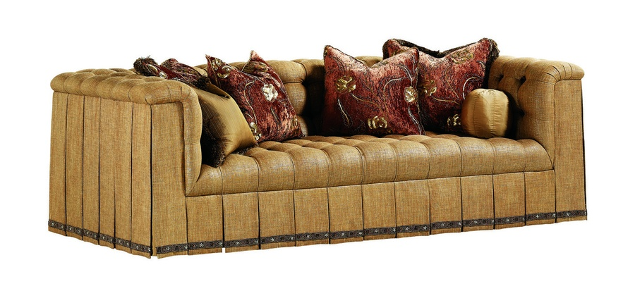 Tiffany Sofa shown with:Button tufted seat, back, and armsPleated deep skirt with pleated dressmakersides and backDecorative tape bandalongbottom of skirt