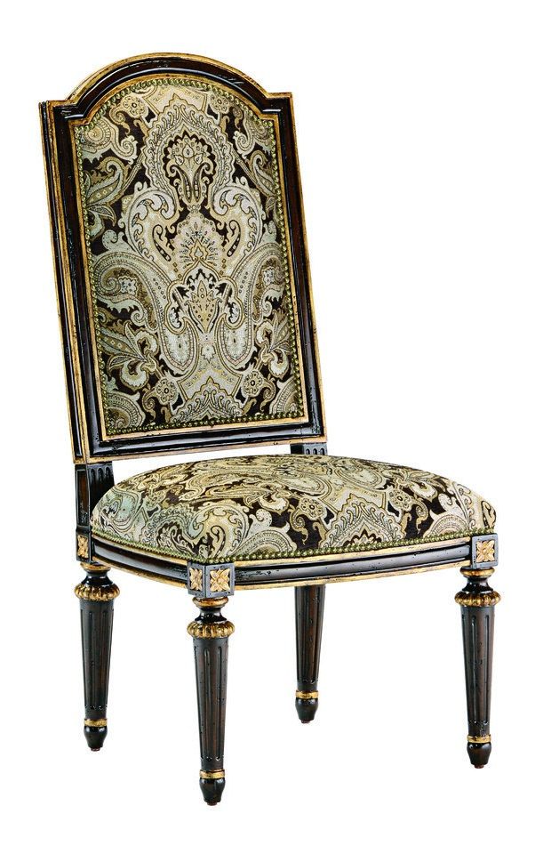 Trianon Court Side Chairshown with:Tight seat and backOld World Havana finishAged Gold Leaf finish trimMetal back inset in Aged Metal finish withAged Gold Leaf finish trimZanzibar nailhead frame trim
