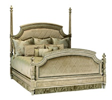 Trianon Court Poster Bed shown with:Low foot postsUpholstered quilted headboard and footboardPompeii finishSilver Star nailhead frame trim