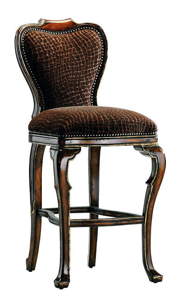 Villa Argenta Barstool shown with:Tight seat and backOld World Oxford finishAged Gold Leaf finish trimBronze Star nailhead frame trimAntique Brass footrest