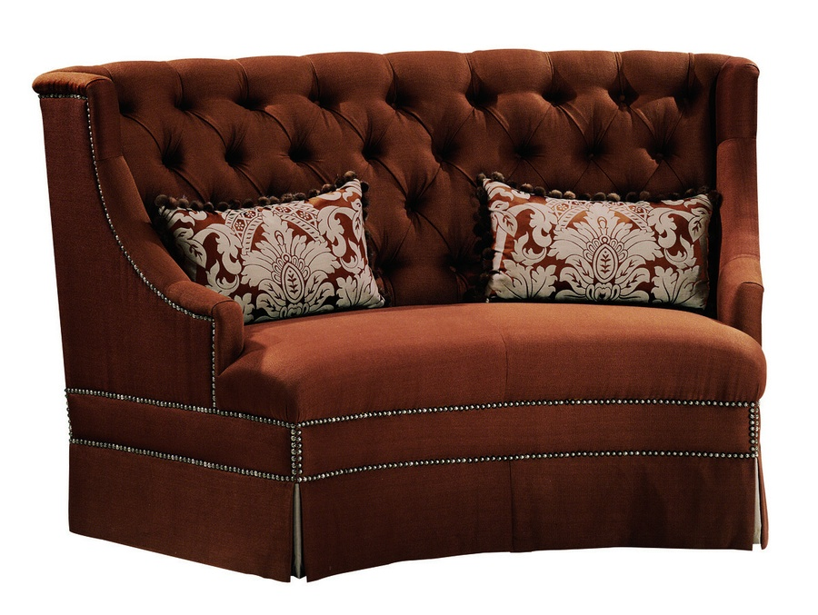 Valentino Banquette shown with:Tight seatButton tufted backDeep skirtSilver Star nailhead frame trim