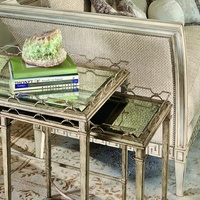 Cambria Nesting Tables shown with:Silver Cloud finishAntique mirror top with beveled edge