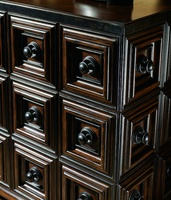 Cross Channel Dresser shown with:Havana finishEbony paint finish trimLegs and hardware in Blackened Iron finish