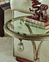 Cross Channel Chairside Table shown with:Versailles finishClear glass top with beveled edge