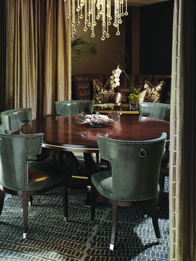 Design Folio Dining Table shown with:BombayfinishDeco SilverLeaf finishtrim
