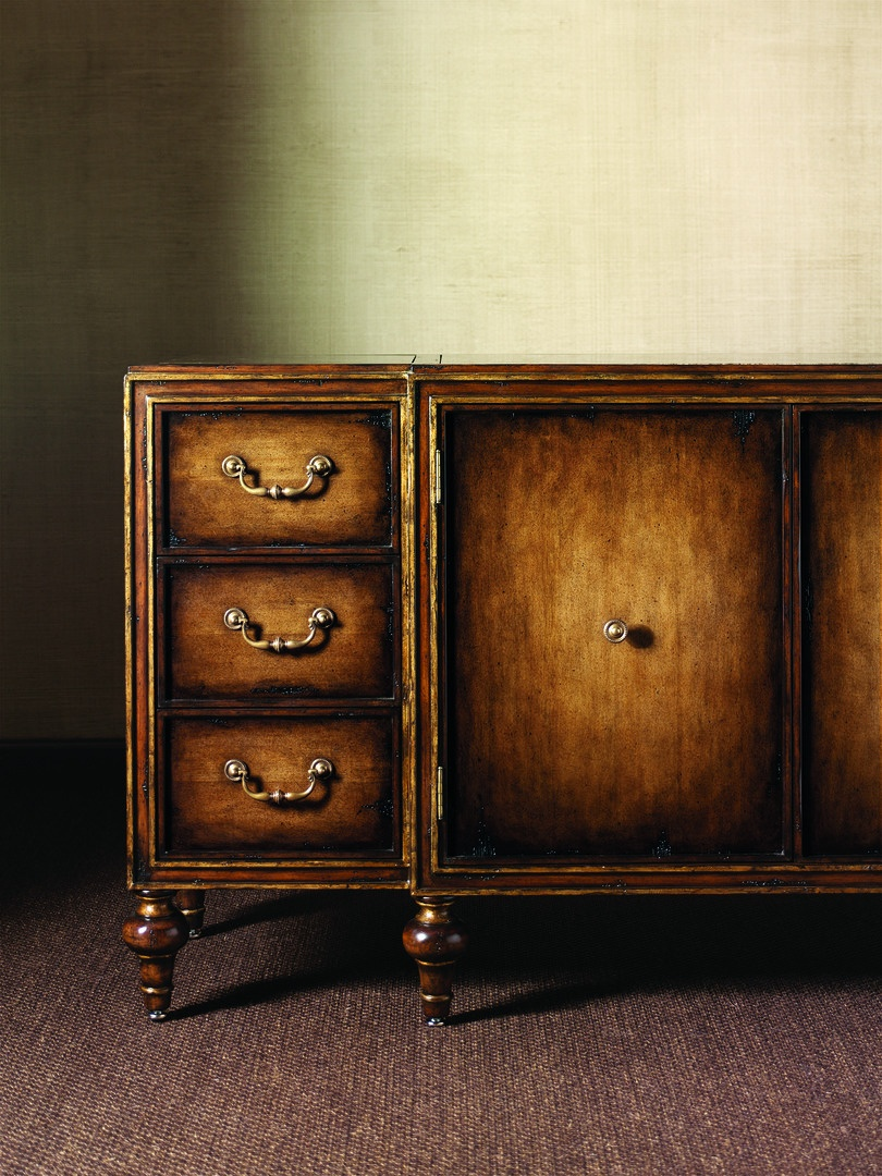 Design Folio Credenza/Dresser shown with:Signature finish with Aged Gold Leaf finish trimPolished Madeira Marble topTraditional LegBail handle and Beaded Knob decorative hardware in Antique Brass finish