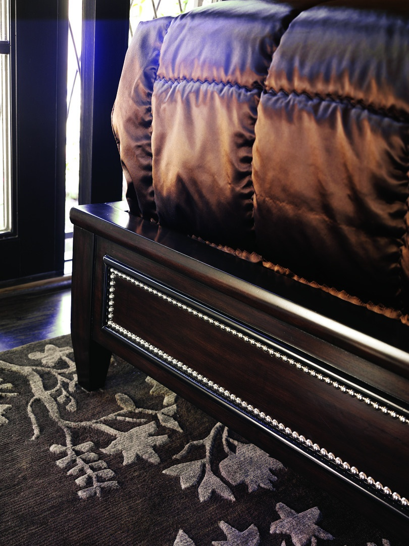 Design Folio Contemporary Bed shown with:Diamond tufted upholstered headboardDouble Bead headboard and panel detail withAntique Mirror insetTransitional LegSilver Cloud finish