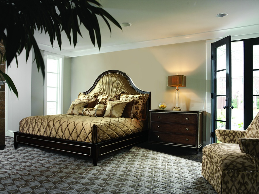 Design Folio Transitional Bed shown with:Plain upholstered headboard with Bronze Star nailhead trimDouble Bead headboard and panel detailEnglish Leg