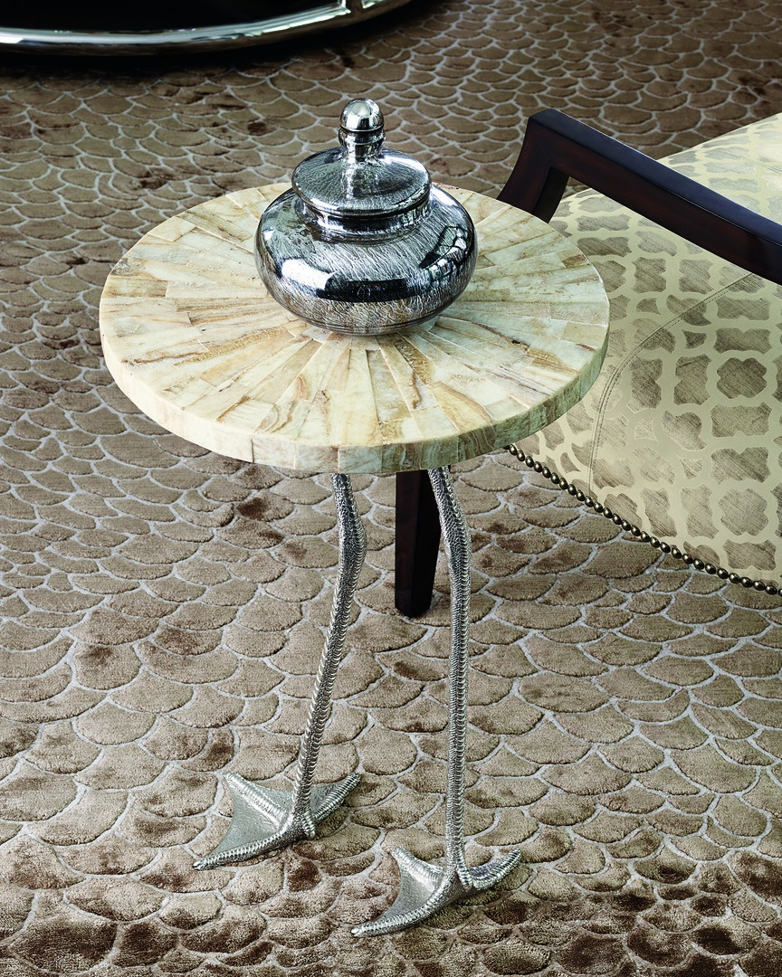 Flamingo Chairside Table shown with:Polished Brass finish on baseTextured Leopard Shell on top