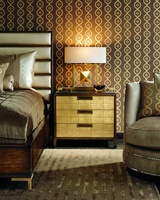 Lake Shore Drive Nightstand shown with:Contemporary Havana finishPolished Black Galaxy Granite topSatin Brass hardware and galleryDrawer faces available in selection of finishes