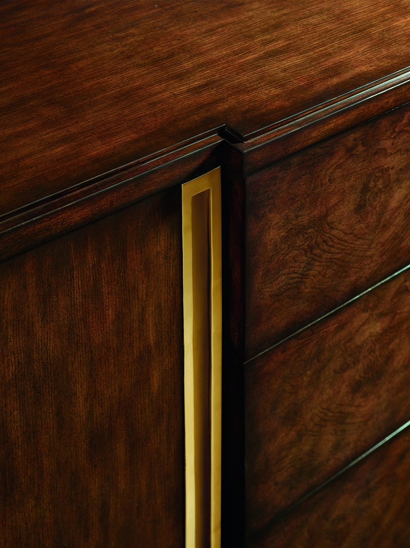 Lake Shore Drive Dresser shown with:Contemporary Havana finishSatin Brass hardware
