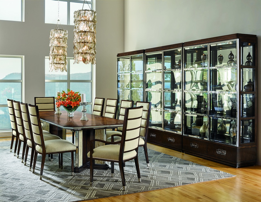 Lake Shore Drive Dining Table shown with: Bombay finishContemporary Havana finish on topStainless Steel decorative metalPolished Crystal Stone Taupe insets