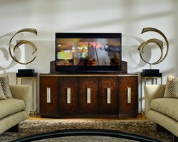 Lake Shore Drive TV Console shown with:Contemporary Havana finishSatin Brass decorative metalPolished Crystal Stone Taupe with Satin Brass decorative hardware