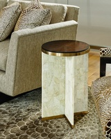 Lake Shore Drive Chairside Table shown with:Contemporary Havana finish on topSatin Brass metal framePolished Crystal Stone Taupe base