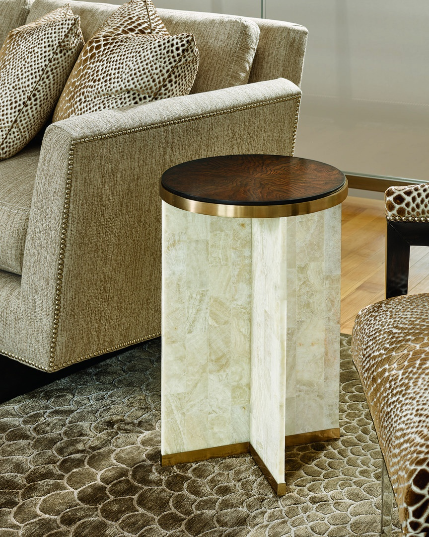 Lake Shore Drive Chairside Table shown with:Silver Cloud finish on topSatin Brass metal framePolished Crystal Stone Beige base