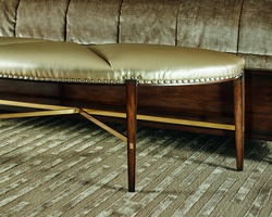 Lake Shore Drive Bench shown with:Tight seatContemporary Havana finishSatin Brass stretcherSilver nailhead frame trim over decorative tape