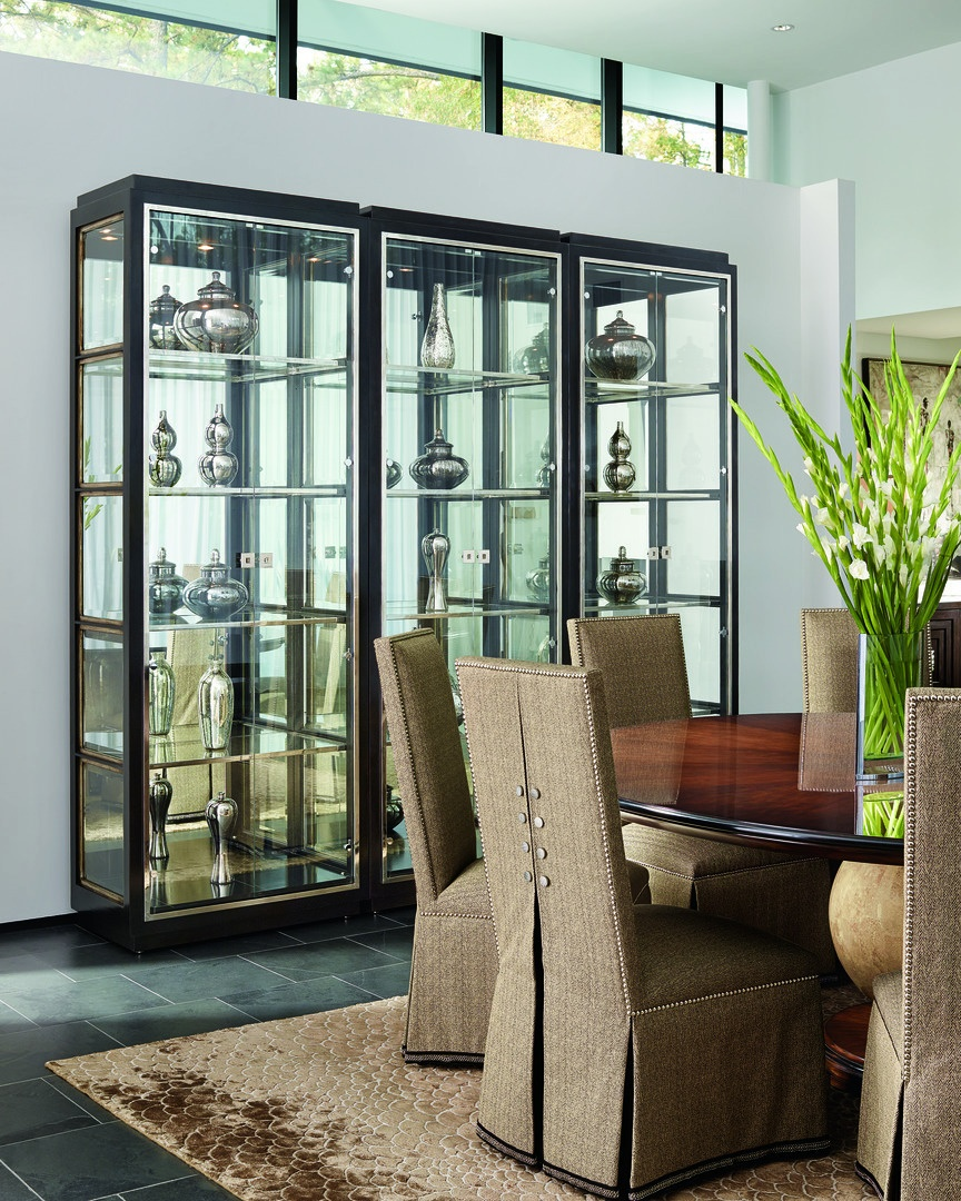 Malibu Display Cabinet shown with:Kona finishEbony finish trimStainless Steel door and shelf framePolished Nickel hardware
