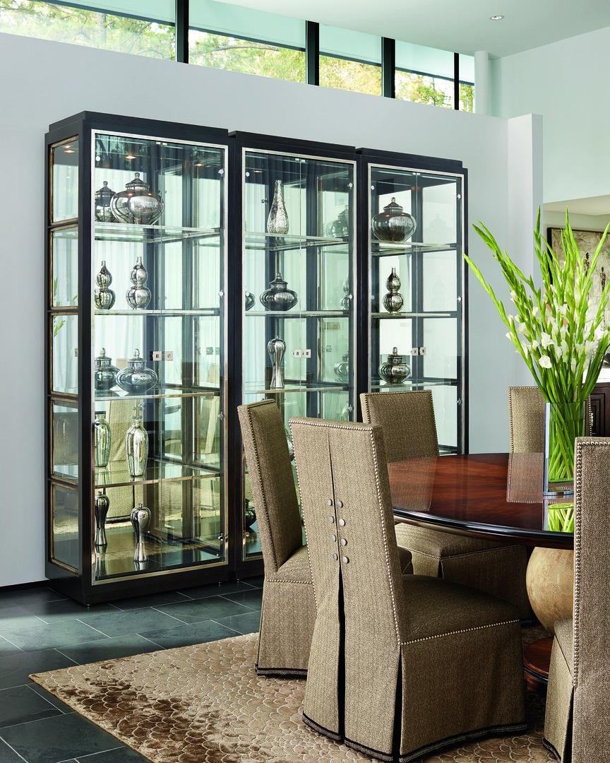 Malibu Display Cabinet shown with:KonafinishEbonyfinish trimStainless Steel door and shelf framePolishedNickel hardware