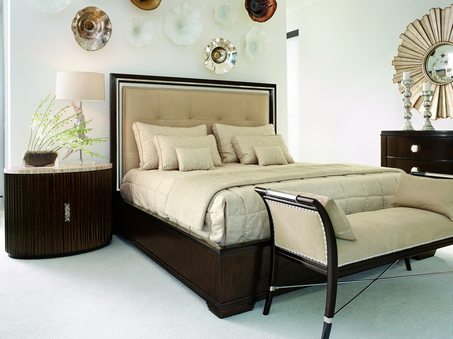 Malibu Panel Bed shown with:Bombay finishEbony paint finish trimStainless Steel headboard accentUpholstered box quilted headboardSilver nailhead frame trim