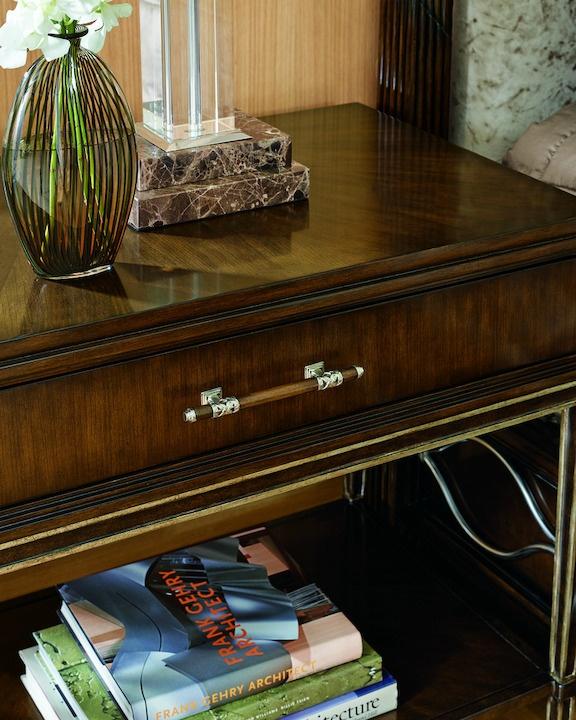 Malibu Nightstandshown with:Silver Cloudfinish on baseBombay finish on wood drawer and shelfPolished Crystal Stone Taupe topPolishedNickel hardware