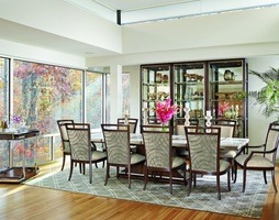 Malibu Dining Room Malibu Dining Tableshown with:KonafinishStainless Steel accent bandPolished Crystal Stone Beige top
