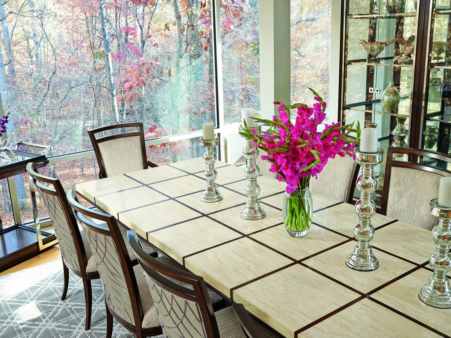 Malibu Dining Table shown with:Kona finishStainless Steel accent bandPolished Crystal Stone Beige top