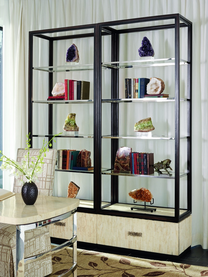 Malibu Etagere shown with:Kona finishEbony paint finish trimStainless Steel shelf frameTextured Crystal Stone Beige basePolished Nickel hardware